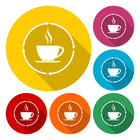 Coffee cup icons set with long shadow