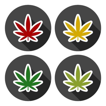 Marijuana leaf icons set with long shadow Illustration