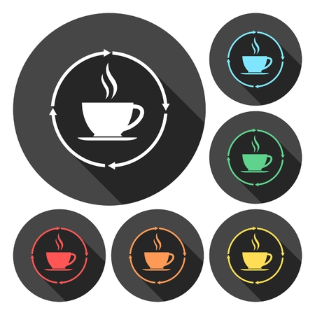 decaf: Coffee cup icons set with long shadow