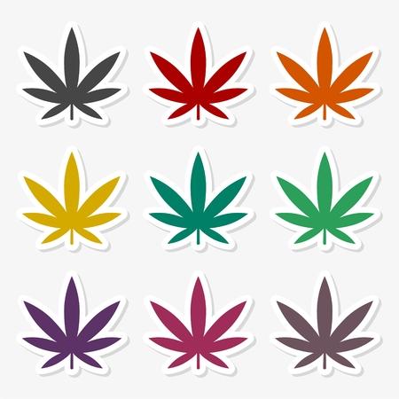 Marijuana leaf sticker set