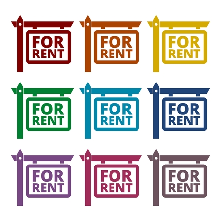 rent: For Rent Icons set