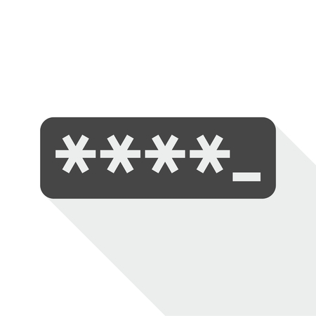 logon: Password typing icon with long shadow Illustration