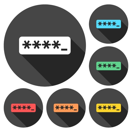 logon: Password typing icons set with long shadow