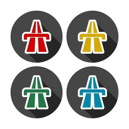 Highway icons set with long shadow Illustration