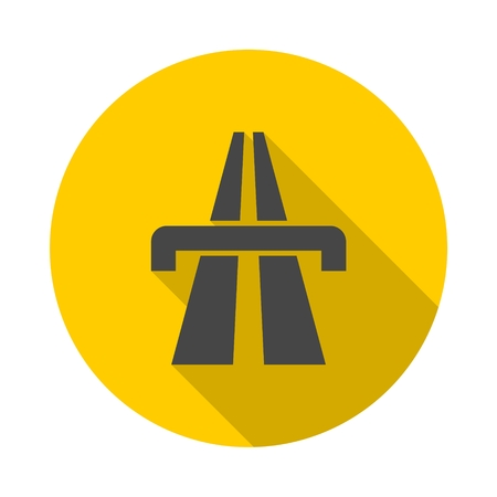 Highway icon with long shadow Illustration