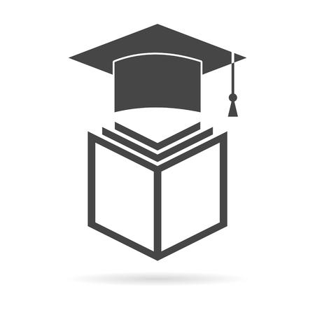 Education icon, book and graduation cap