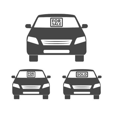 car for sale: Car for sale, for rent, sold icon Illustration