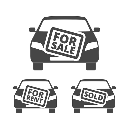 Car for sale, for rent, sold icon Vectores