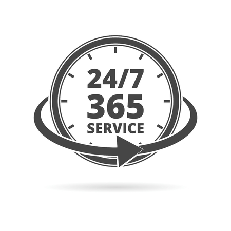 Open 24/7 - 365, 24/7 365  イラスト・ベクター素材