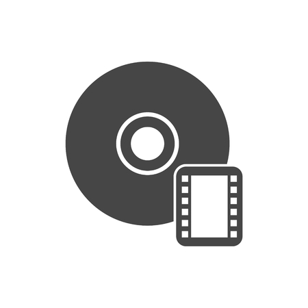 rewritable: CD With Movie Flat Icon On White Background