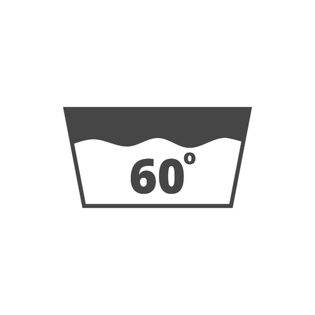 washbowl: Wash icon, Machine washable at 60 degrees symbol Illustration