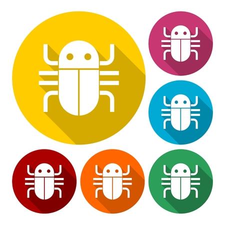 malicious: Flat bug icons set