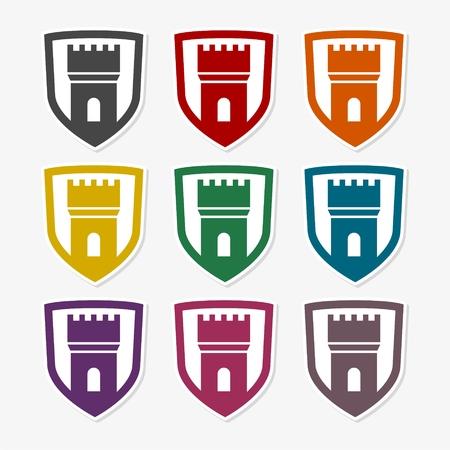 Set of color castles, vector illustration