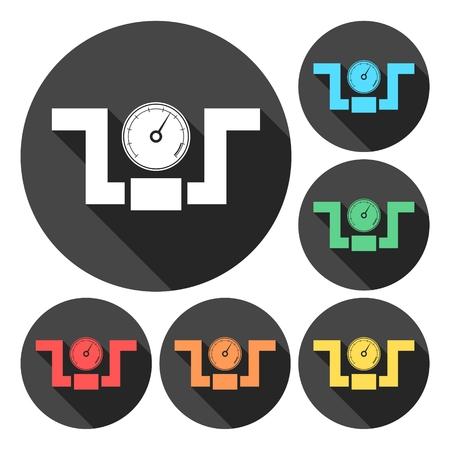 manometer: Vector flat manometer icons set