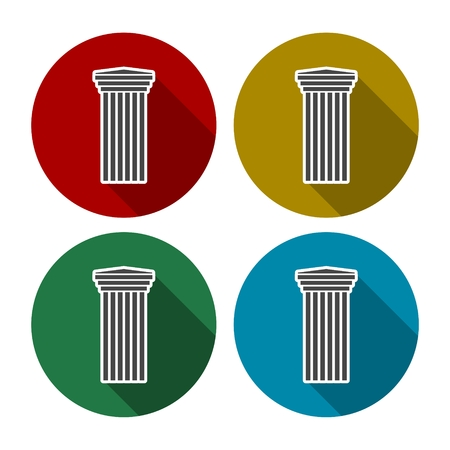 column icon: Antique Column icon in different colors set Illustration