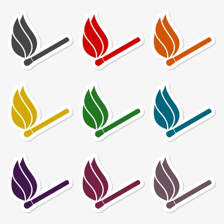 Match sign illustration. Colorful autumn set of icons