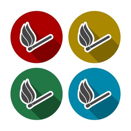 matchbox: Match sign illustration. Colorful autumn set of icons