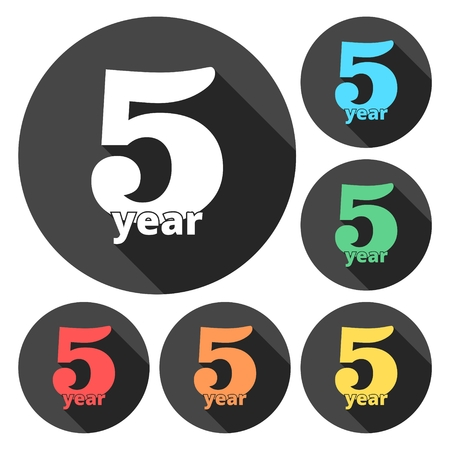 incorporation: 5 years of service, 5 years, Celebrating 5 years, 5rd Anniversary - Set Illustration