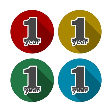 commemoration day: 1 year, Celebrating 1 year, 1 year Anniversary - Set