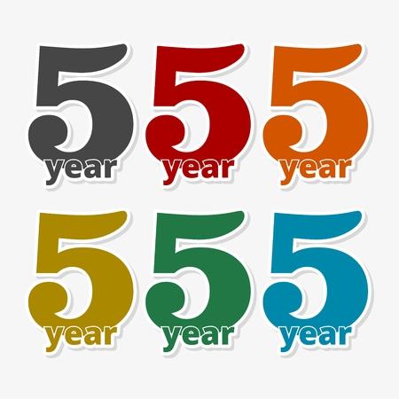 5 años de servicio, 5 años, Celebrando 5 años, 5º Aniversario - Set Ilustración de vector