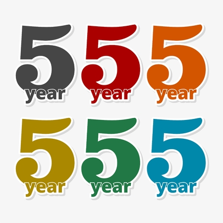 5 years of service, 5 years, Celebrating 5 years, 5rd Anniversary - Set Illustration