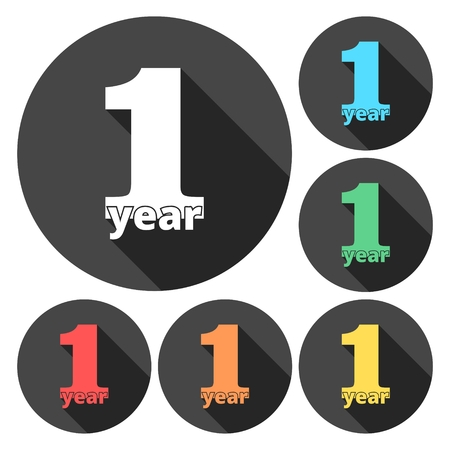 1 year: 1 year of service, 1 year, Celebrating 1 year, 1st Anniversary - Set Illustration