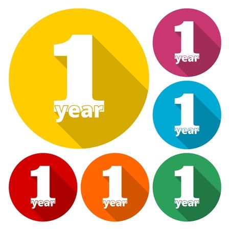 1 year of service, 1 year, Celebrating 1 year, 1st Anniversary - Set Illustration