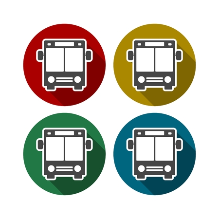 yellow schoolbus: Bus Icon with Color Variations