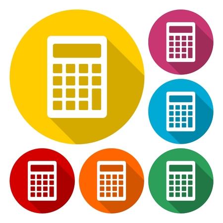 Calculator flat design modern vector icons colorful set Illustration