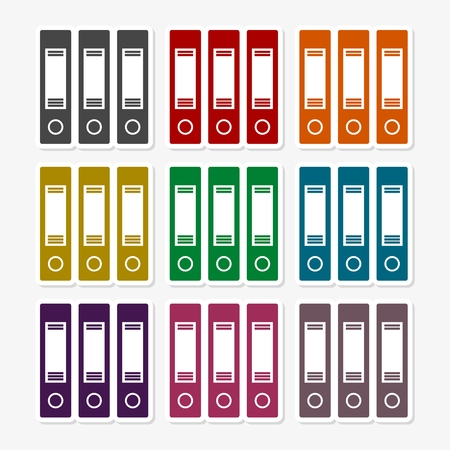 Set of colorful ring binders Illustration