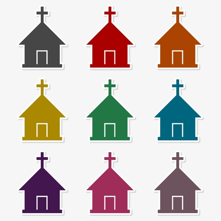 Church with cross symbol for download icons set Illustration