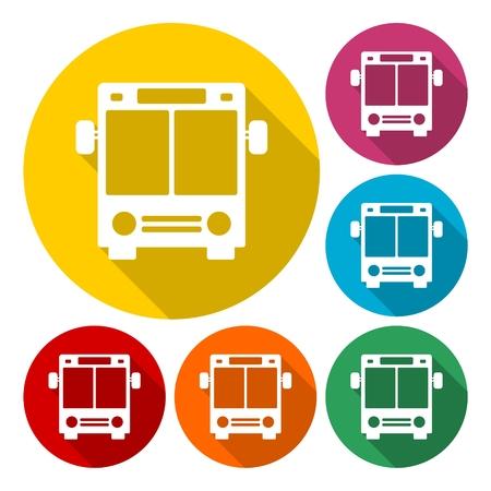 schoolbus: Bus Icon with Color Variations