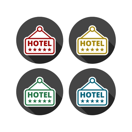 signboard: Hotel Signboard Vector Icon Illustration