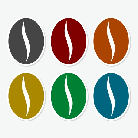 Colorful coffee bean icon set
