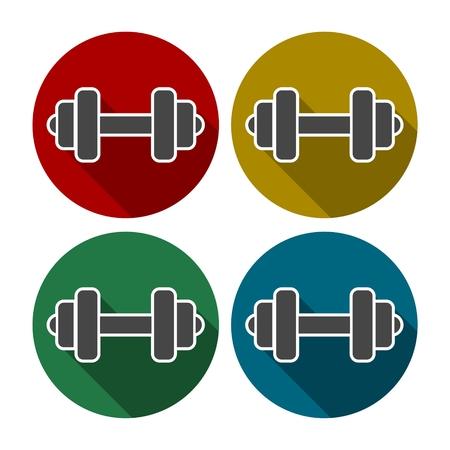 cross bar: Gym dumbbell flat design, color icons set