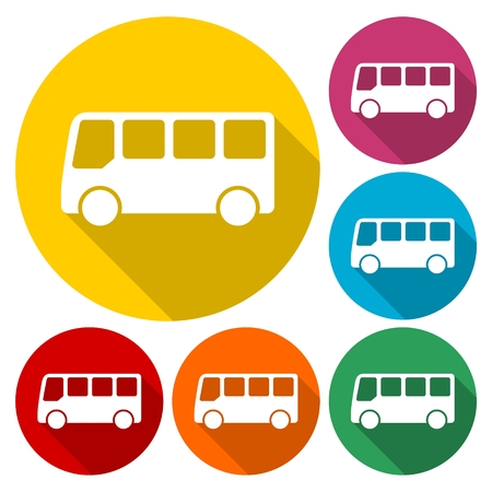 catoon: Vector bus icon set, color car collection