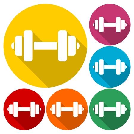 Gym dumbbell flat design, color icons set
