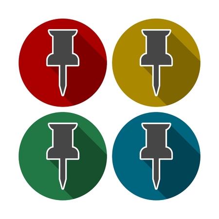 attach: Pushpin icons - Attach, Mark, Office concept