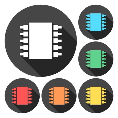 processor: CPU isolated icons. Processor symbols. Set colorful buttons