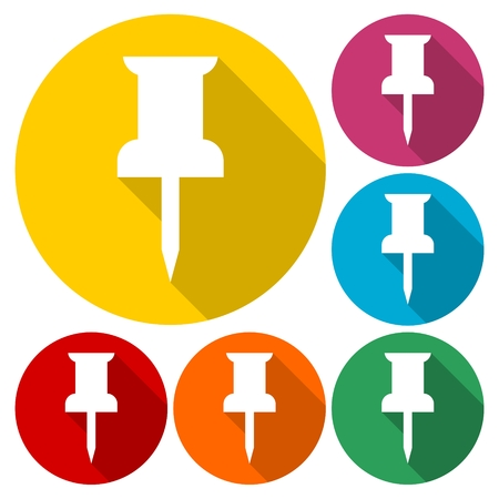 Pushpin icons - Attach, Mark, Office concept