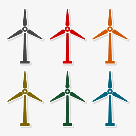 windfarm: Wind Turbine Wind Power Icon Colorful Icon Set