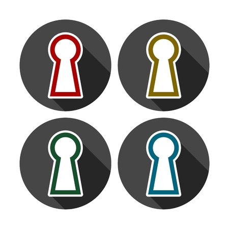 Keyhole Icon, set of colored icons