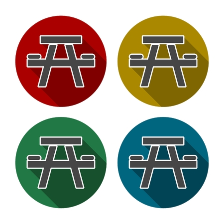 foldable: Camping table Icon, tourist table and chairs