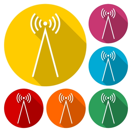 space antenna: Radio wave icon illustration Illustration