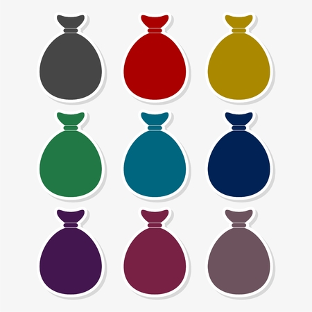 Set of canvas bags of different colors Illustration
