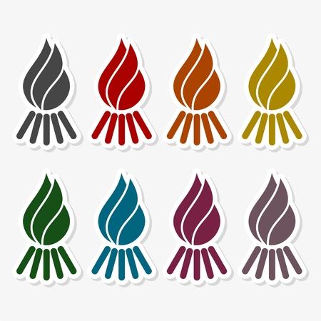 flammable warning: Bonfire. Single flat icon. Vector illustration