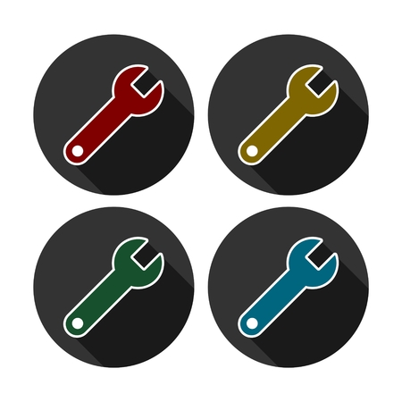 Wrench icons isolated on color background