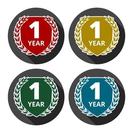 1 year: Laurel wreath 1 year icons set