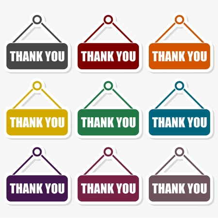 Thank you. Sticker collection. Vector illustration