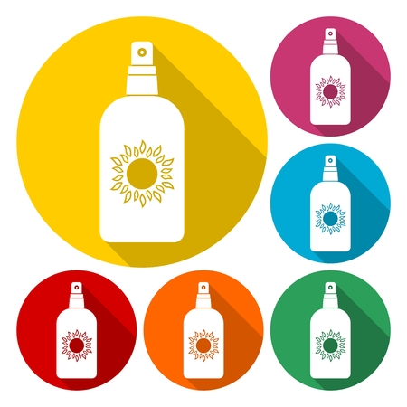 Vector flat bottle with solar protection with set of 6 colors Illustration